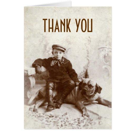 El muchacho del vintage con el perro le agradece t tarjetón