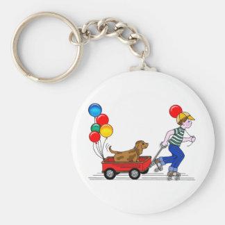 El muchacho, el perro, el carro y los globos llavero redondo tipo pin