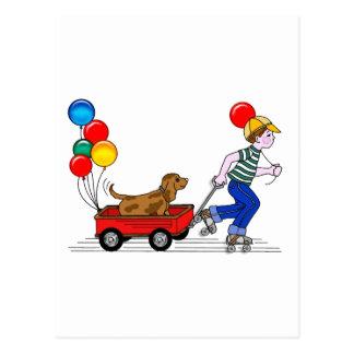 El muchacho, el perro, el carro y los globos tarjeta postal