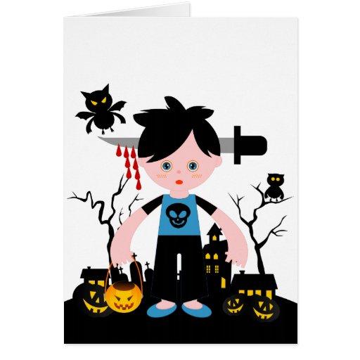 El muchacho fantasmagórico de Halloween Felicitación