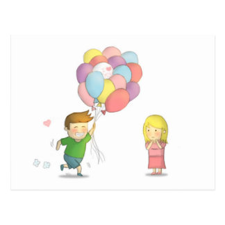 El muchacho lindo confiesa su amor al chica con lo postal