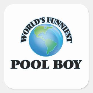 El muchacho más divertido de la piscina del mundo pegatina cuadrada
