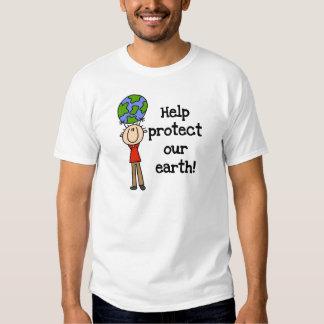 El muchacho protege nuestras camisetas y regalos playeras