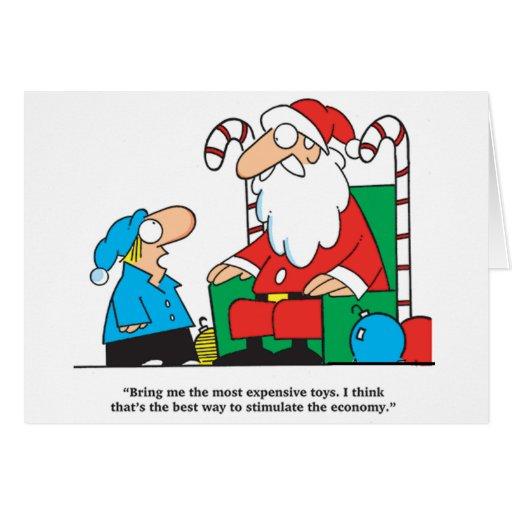 El muchacho que pide Santa estimula la tarjeta de