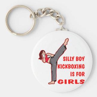 El muchacho tonto Kickboxing está para los chicas Llavero Redondo Tipo Pin