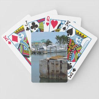 el muelle aherrumbrado pie perfora el puerto cartas de juego