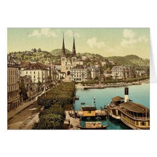 El muelle, los hoteles Schweizerhof y el nacional  Tarjetón