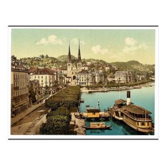 El muelle, los hoteles Schweizerhof y el nacional  Postal