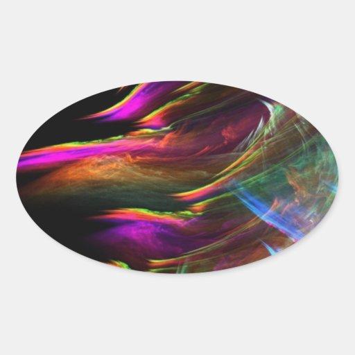 El multicolor abstracto agita en el movimiento calcomania de óval