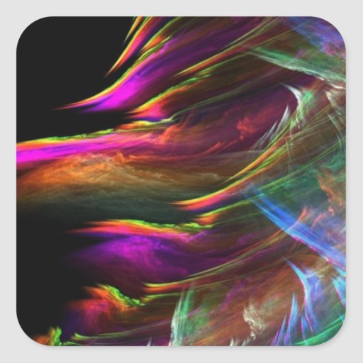 El multicolor abstracto agita en el movimiento pegatina cuadrada