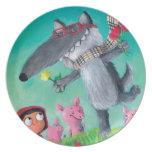 El mún lobo grande plato para fiesta