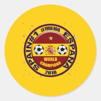 El mundo 2010 de España defiende el fútbol Futbol Pegatina Redonda