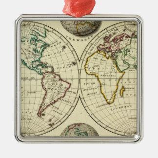 El mundo con límites continentales adorno navideño cuadrado de metal