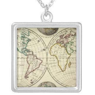 El mundo con límites continentales colgante cuadrado