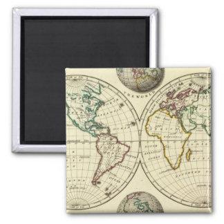 El mundo con límites continentales imán cuadrado