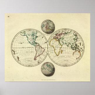 El mundo con límites continentales impresiones