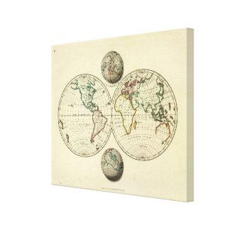 El mundo con límites continentales lienzo envuelto para galerías