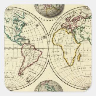 El mundo con límites continentales pegatinas cuadradas personalizadas