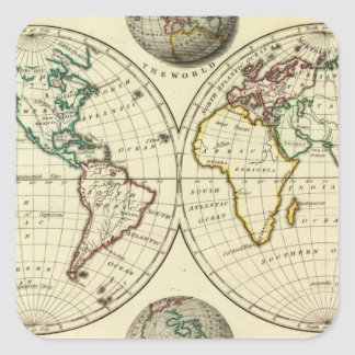El mundo con límites continentales pegatina cuadrada