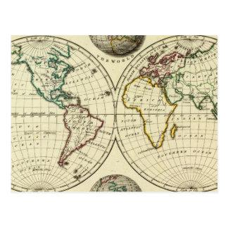 El mundo con límites continentales tarjetas postales