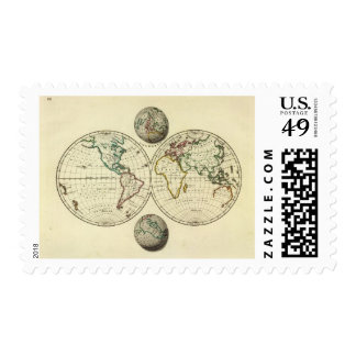 El mundo con límites continentales timbres postales