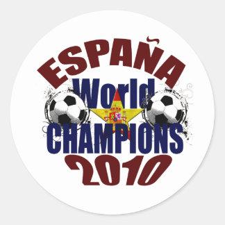 El mundo de Espana defiende la bandera de España Pegatina Redonda