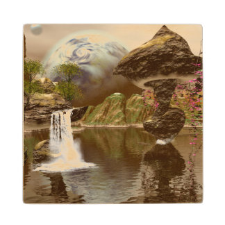 El mundo de fantasía con los planetas posavasos de madera