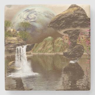 El mundo de fantasía con los planetas posavasos de piedra