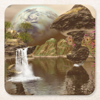 El mundo de fantasía con los planetas posavasos desechable cuadrado