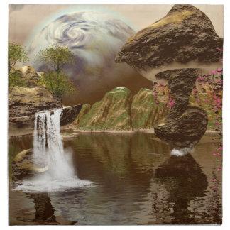 El mundo de fantasía con los planetas servilleta imprimida