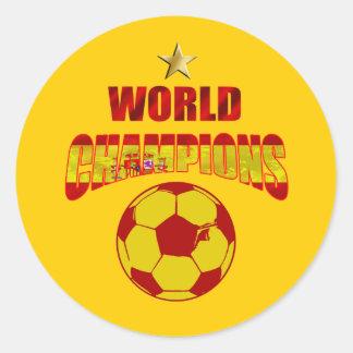 El mundo de la primera vez defiende España Pegatina Redonda