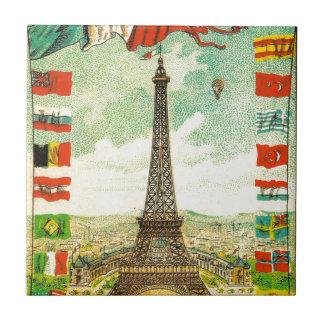 El mundo de la torre Eiffel del vintage señala la Azulejo Cuadrado Pequeño