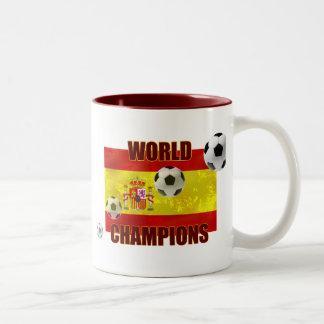 El mundo defiende el balón de fútbol de la bandera tazas de café