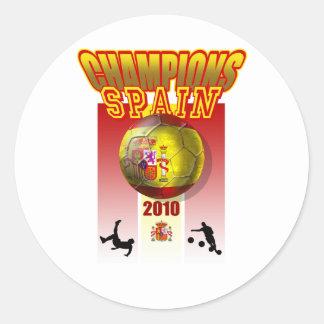 El mundo defiende el futbol 2010 de España Espana Pegatina Redonda