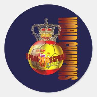 El mundo defiende el futbol 2010 de España Pegatina Redonda