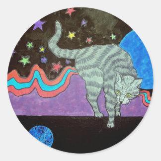 El mundo del gato pegatina redonda