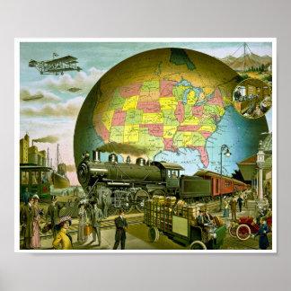 El mundo del transporte 1910 póster