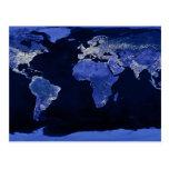 El mundo en la noche - mapa, espacio tarjeta postal