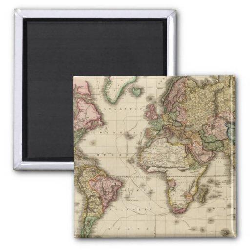 El mundo en la proyección de Mercator Imán Cuadrado