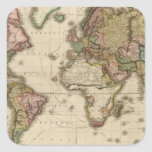 El mundo en la proyección de Mercator Pegatina Cuadrada