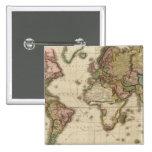 El mundo en la proyección de Mercator Pin Cuadrado