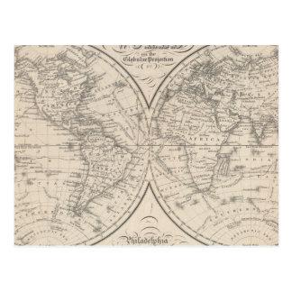 El mundo en la proyección globular postales