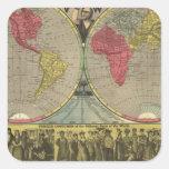 El mundo en una visión pegatina cuadrada