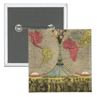 El mundo en una visión pin cuadrada 5 cm