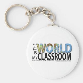 El mundo es mi sala de clase llavero redondo tipo pin