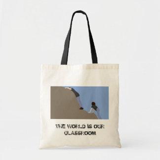 El mundo es nuestra sala de clase - tote bolsa tela barata