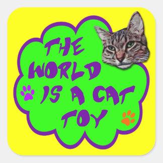 El mundo es un juguete del gato pegatina cuadrada