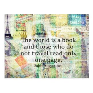 El mundo es una cita del viaje del libro postales