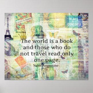 El mundo es una cita del viaje del libro póster