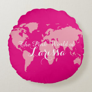 el mundo rosado de (su nombre) cojín redondo